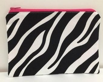 Zipper Pouch, Pencil Case, Make Up, Gift,Teacher Gift, Monochrome,Bridesmaid gift, Nappy Bag, Bag organiser, Zebra pouch, Animal print pouch