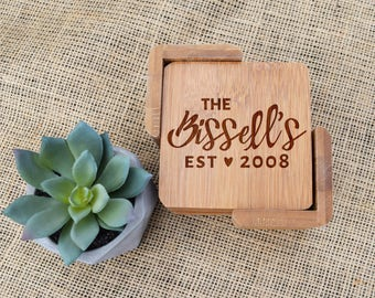 Personalized Coasters, Custom Coasters, Bamboo, Set of 6, Engraved, Last Name & Est Date, Wedding Gift, Present, Bridal Shower, Housewarming