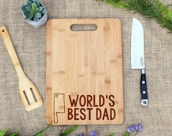 World's Best Dad Cutting Board, Father's Day, Dad Birthday, Gift for Dad, Custom, Personalized, Cheese Board, Father's Day Gift, Christmas