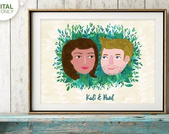 Custom Portrait, Custom Couple Illustration, Couple Portrait, Christmas Gift, Anniversary Gift, Family Portrait, Wedding Gift, Birthday Gift