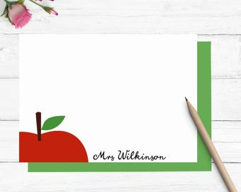 apple stationery set, personalized teacher stationary, personalized teacher gift, teacher appreciation gift, back to school gift, TS001