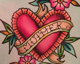 Heart and Flower Mom Tattoo Watercolor