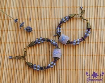 Purple bracelet bead bracelet flower jewelry for women gift for girlfriend gift Flower bracelet purple jewelry hand embroidery jewelry gift