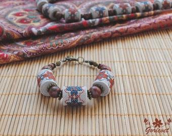 Jasper bracelet gemstone jewelry boho bracelet bead bracelet womens gift her gift wife gift energy bracelet yoga jewelry embroidered jewelry