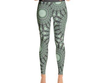 Nature Inspired Green Boho Yoga Pants - Forest Green and Mint Green Mandala Art Leggings, Printed Yoga Tights