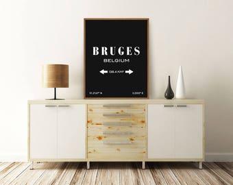 BRUGES PRINT, Bruges Belgium, Bruges Poster, Bruges Map, Bruges Coordinates, Typography Print, Printable Wall Art, Minimalist Poster