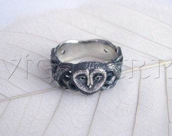 Silver Owl Ring.Vintage Owl Ring.Unisex Owl Ring.Silver Bird Ring.Owl.Silver Owl.Vintage Owl.Bird Jewelry.Silver Owl Jewelry.Unique Owl Ring