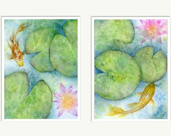 Koi Fish Art, Zen Watercolor Print Set, Japanese Koi Pond Giclee, Green Blue Abstract Watercolor Painting, Lotus Flower Wall Art, Pond Art