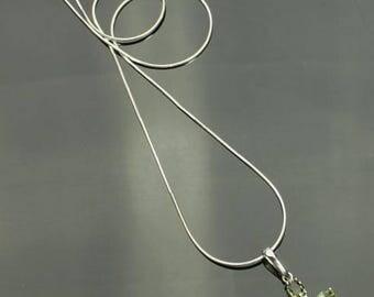 Moldavite Cross Necklace, Genuine Green Tektite in Sterling Silver, Oval Moldavite Cross Pendant, Green Meteorite, Certificate