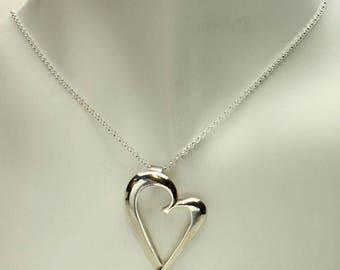 Heart Silver Necklace, Open Heart in Sterling Silver, Heart Pendant, Rolo Chain, Lost Wax Casting