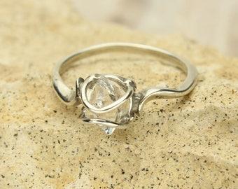 Herkimer Diamond Ring, Herkimer Diamond Rough Crystal in Sterling Silver Ring