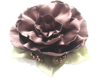 Chocolate Satin Fabric Flower Brooch, Bridal Hair Clip, Wedding Accessory, Camellia,Hairstyles For Bride,Embellishment,Mother of the Bride