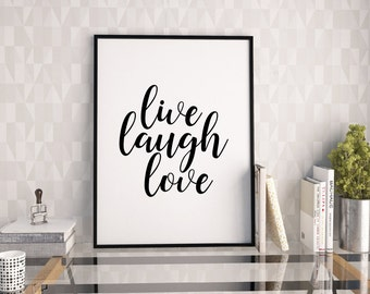 Live laugh love printable poster, typography print, printable quote, wall decor, typography poster