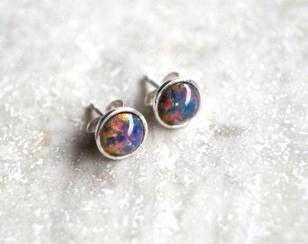 Fire Opal Stud Earrings,Sterling Silver Stud Earrings,Fire Opal Stone,Stud Earrings