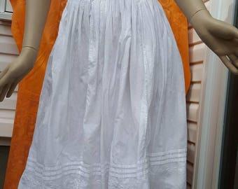 Vintage pinafore dress,white apron dress,white cotton summer dress,broderie decoration,festival dress,boho fashion(3)