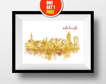 Edinburgh  Print, Edinburgh Art,  Edinburgh Castle, Edinburgh modern Art Print