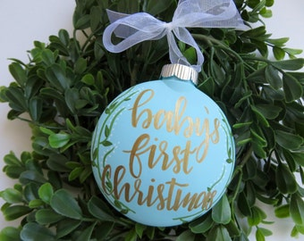 Custom Baby's First Christmas // Blue, Plastic Ornament