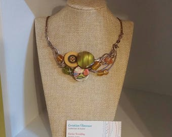 Autumn color necklace, champagne wire