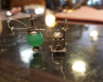 Indian 900 Silver Chrysoprase Bead Hookah and Taj Mahal Charms