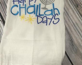 Happy Challah Days Menorah Hanukkah Flour Sack Towel Gift