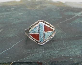 Vintage Southwest Style Silvertone Crushed Turquoise & Carnelian Ring Size 6 Item T10