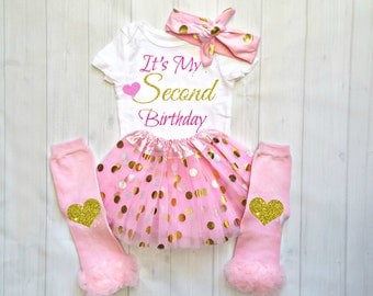 Pink and Gold Second Birthday Outfit, Pink And Gold Tutu, 2nd Birthday Outfit, Girls 2nd Birthday Outfits,Second Birthday Outfit