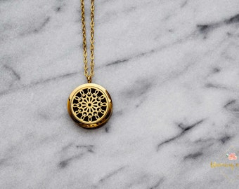 Marigold {Gold Stainless Steel Diffuser Locket Necklace}
