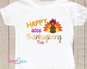Happy Thanksgiving Shirt Turkey Kids Shirt Bodysuit Personalized