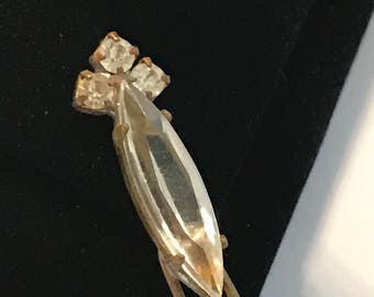 Vintage Crystal Rhinestone Hair Pin, Crystal Clear Rhinestone Bobby Pin, Crystal Hair Accessory, Gift for Her, Estate Jewelry