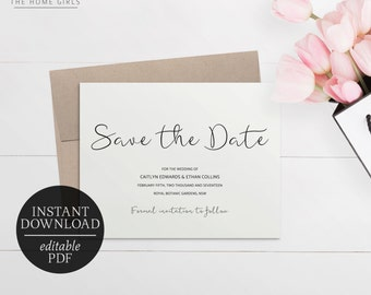 Save The Date Calligraphy Invitation Printable | Editable Template | Black and White | Wedding Suite | Modern Calligraphy | Caitlyn