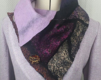 HANDMADE nuno felt scarf, felted wrap in pink and purple with black outline, made on silk in a patchwork pattern