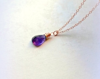 Rose Gold Amethyst Necklace Purple Amethyst Pendant AA+ Gemstone Necklace Gifts for Her
