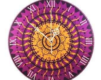 """Wall Clock - 'Purple Golden Mandala' (11"""")"""