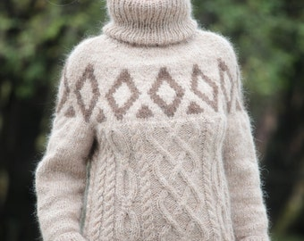 To ORDER Beige Pure Icelandic Wool Sweater Thick Turtleneck Cable Knit Pullover Fair Isle Hand Knitted by TanglesCreations