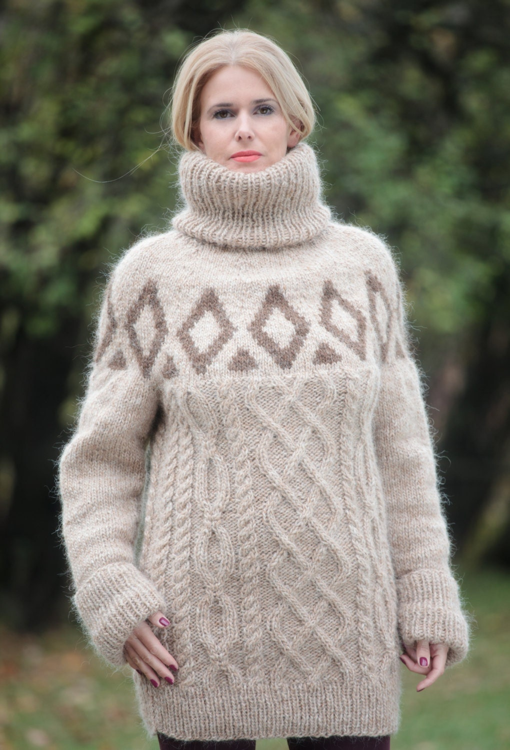 To ORDER Beige Pure Icelandic Wool Sweater Thick Turtleneck