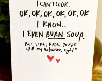 Valentines Day cards for him, be my valentine, hand lettered valentines day card, valentines card for him, boyfriend valentine, cant cook
