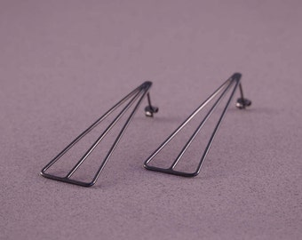 Unique black earrings, oxidized wire earrings, contemporary earrings, triangle dangle earrings, geometric earrings for women, long earrings