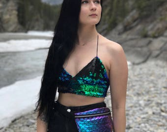 IN STOCK - S/M - Two Toned Reversible-Sequin Mermaid Scale Halter Triangle Crop Top/Bralette