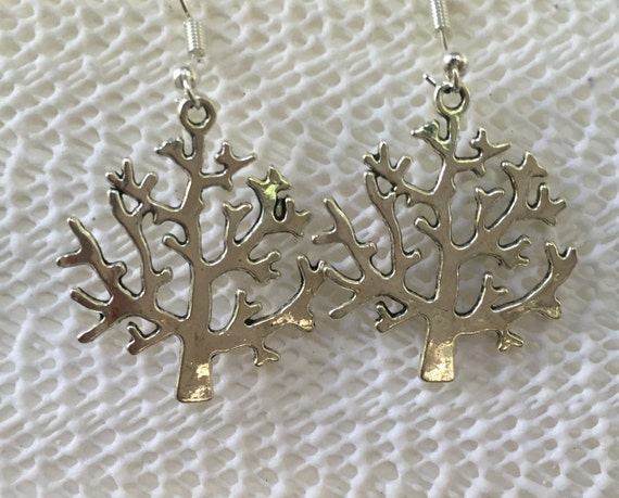 Tree of Life Antique Silver Earrings