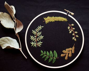 "greenery wreath hand embroidery art • botanical art • ferns, leaves, plant embroidery • 6"" hoop art • organic cotton"