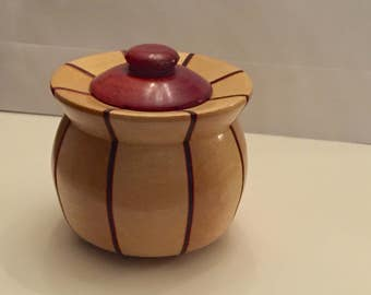 Handmade One of a Kind - Wooden Bowl with Lid - Stave Bowl Construction
