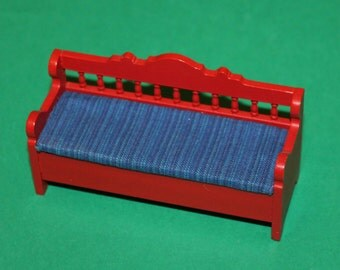 Vintage Dolls House Lundby Red Kitchen Bench With Blue Seat