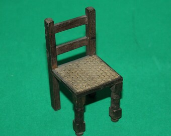 Vintage Dolls House Pit A Pat Chair With Woven Seat 1930's
