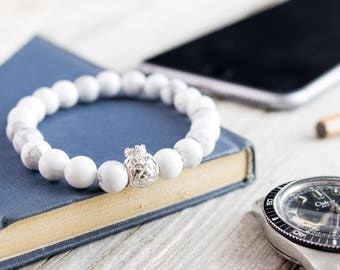 8mm - White howlite beaded bracelet with 925 sterling silver Lion with crown, stretchy bracelet made to order yoga bracelet, white bead