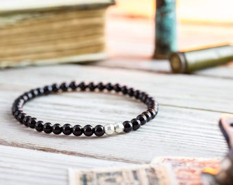 4mm - Black onyx beaded stretchy bracelet with sterling silver beads, made to order mens beaded bracelet, mens bracelet, elegant bracelet