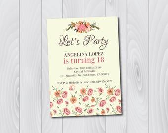 18th Birthday Invitation/Printable Birthday Invitation/e-card invitation/Template/Birthday Invitation/eighteenth birthday card/flowers