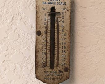 Hanging Scale, Travel Scale, Vintage Scale, Pioneer Scale, Pocket Balance Scale, balance scale, vintage scale, 25 lb capacity, Fish Scale