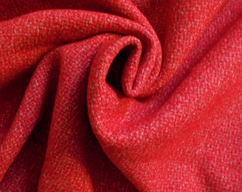 Vintage Woven Wool Dress Fabric - 1960's / 1970's - Cranberry (small red & beige/taupe weave) - 1 piece - Unused