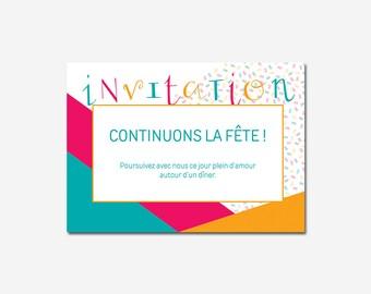 Invitations wedding customizable - typographic - colorful - geometric - calligraphy