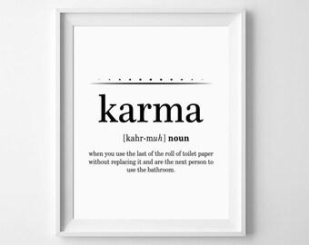 Karma Definition Print, Karma Poster, Badezimmerwand Zitate, Lustige  Badezimmer Print